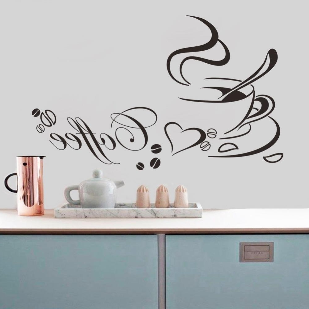 Vinyl Wall Art pertaining to Recent Coffee Cup With Heart Vinyl Quote Restaurant Kitchen Removable Wall