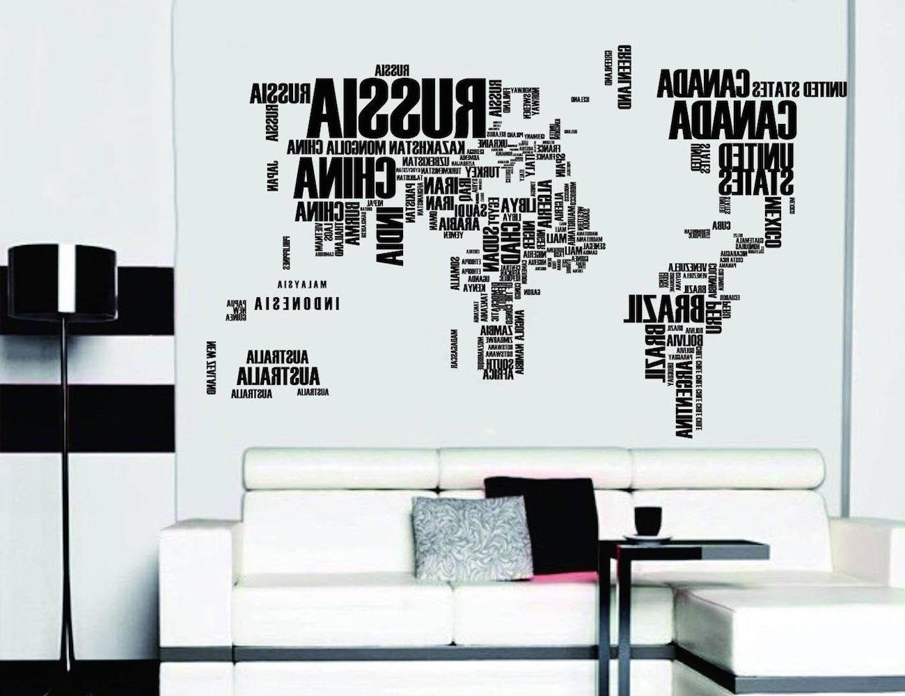 Vinyl Wall Art World Map With Regard To Well Known Word World Map Vinyl Wall Sticker – Travel Bible Shop (Gallery 10 of 15)