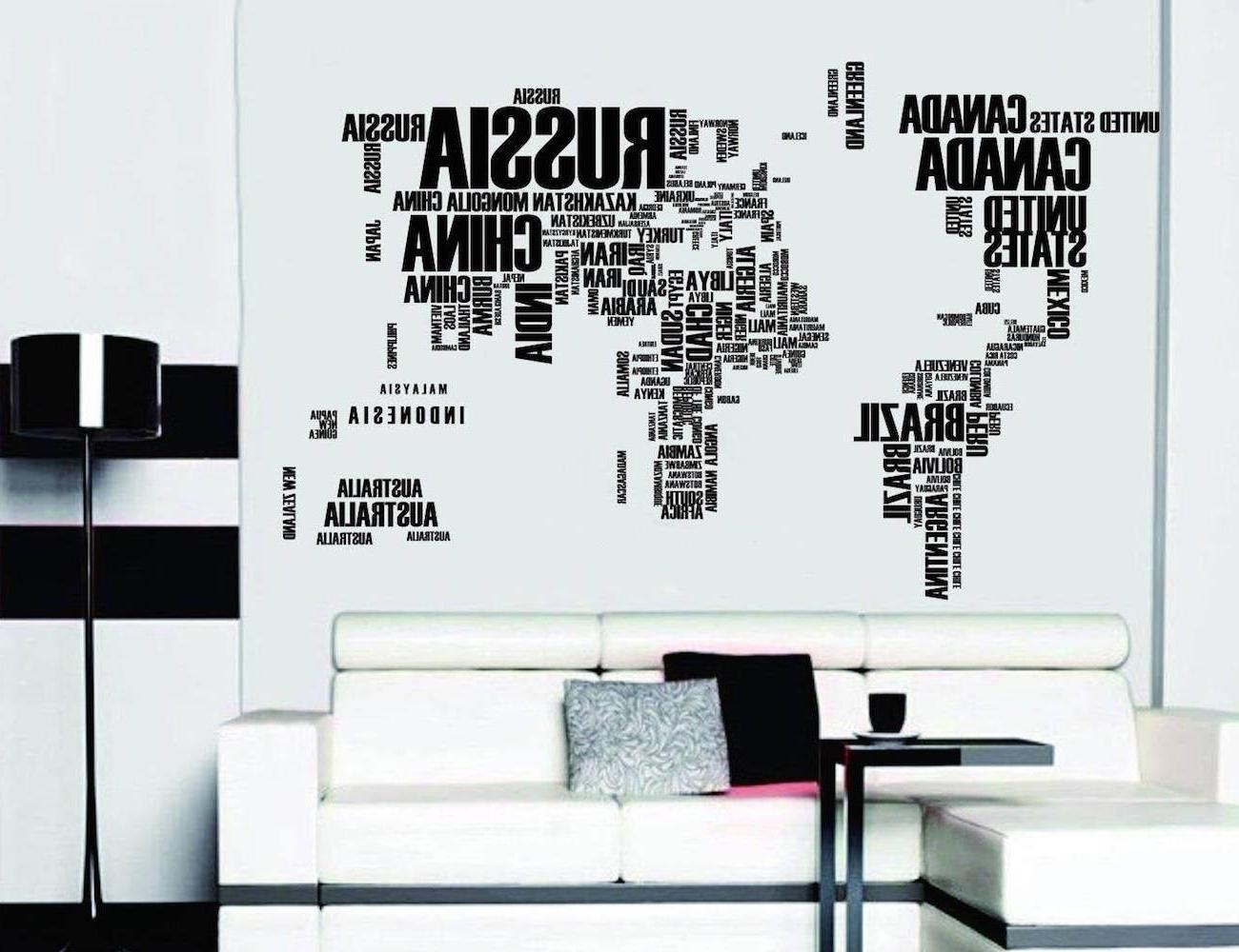 Vinyl Wall Art World Map with regard to Well known Word World Map Vinyl Wall Sticker – Travel Bible Shop
