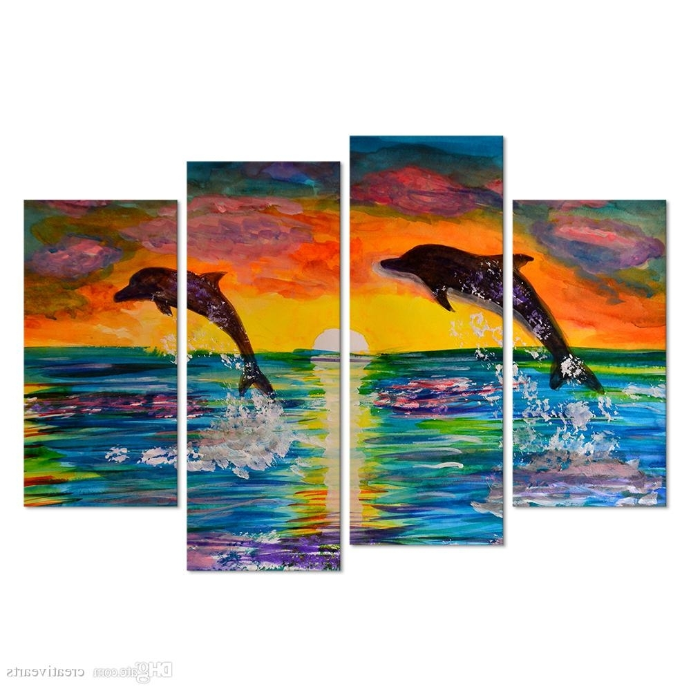 Visual Art Decor 4 Panel Wall Art Cororful Sea Sunset With Jumping Pertaining To Newest Panel Wall Art (View 2 of 15)
