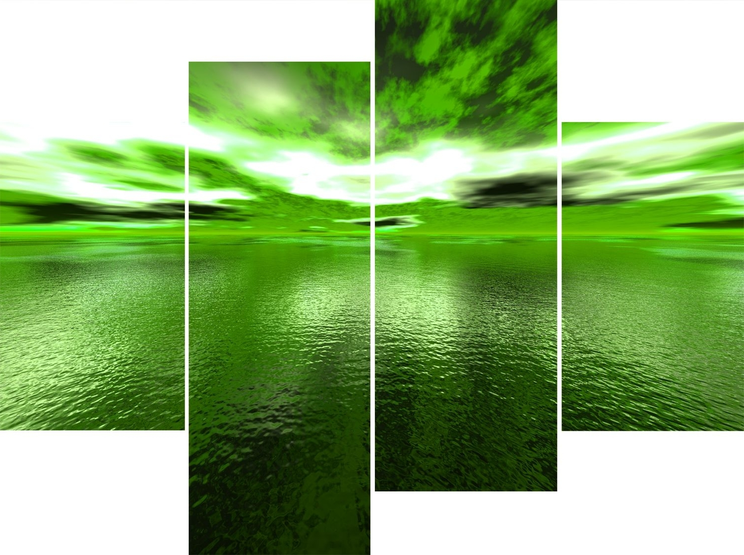 Wall Art Design Ideas: Large 4 Panel Green Sea Andros Vision Canvas Throughout 2018 Green Wall Art (View 12 of 15)