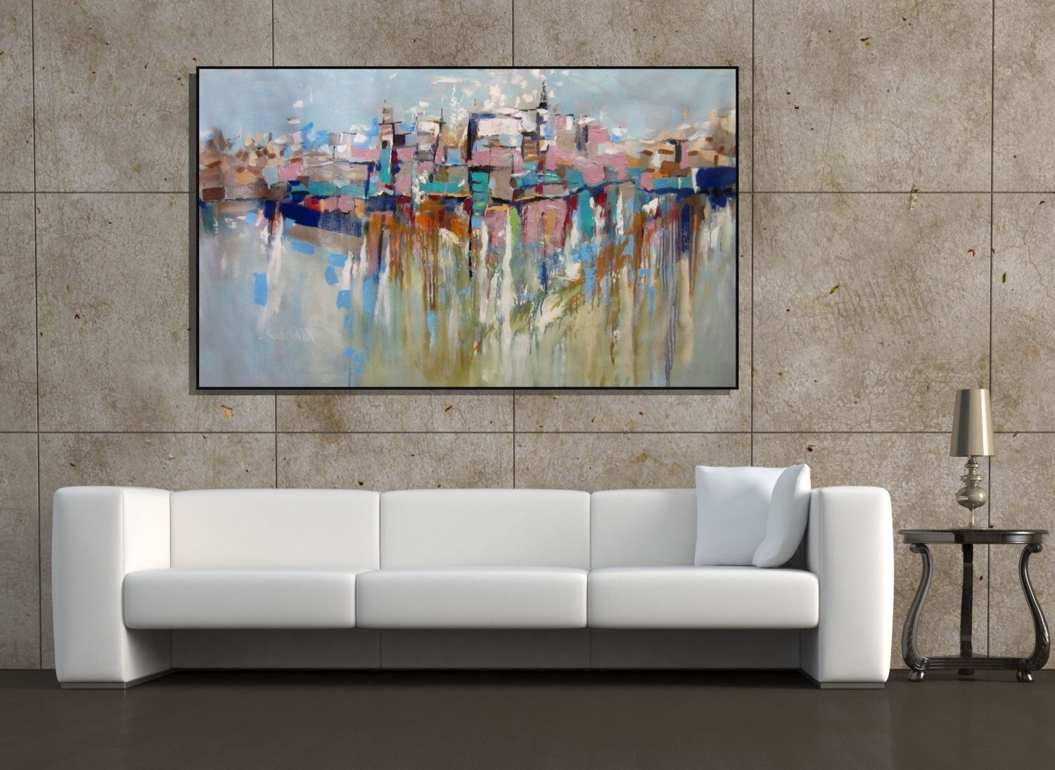 Wall Art Extra Large Painting Cityscape Abstract Painting Textured Pertaining To Recent Large Contemporary Wall Art (View 3 of 15)