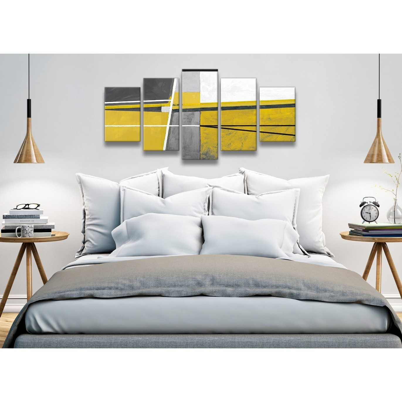Wall Art For Bedroom Regarding Widely Used 5 Panel Mustard Yellow Grey Painting Abstract Bedroom Canvas (View 14 of 15)