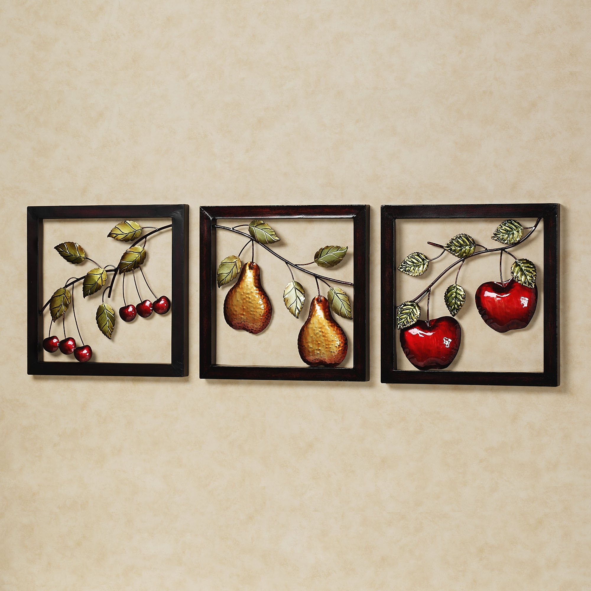 Wall Art For Kitchen Regarding Well Known Beautiful Fruits Metal Wall Art Decor Kitchen With Black Frame Ideas (View 10 of 15)