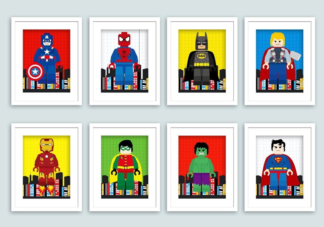 Wall Art Ideas Design : Brotherly Quote Super Hero Wall Art Name Pertaining To 2017 Superhero Wall Art (View 14 of 15)