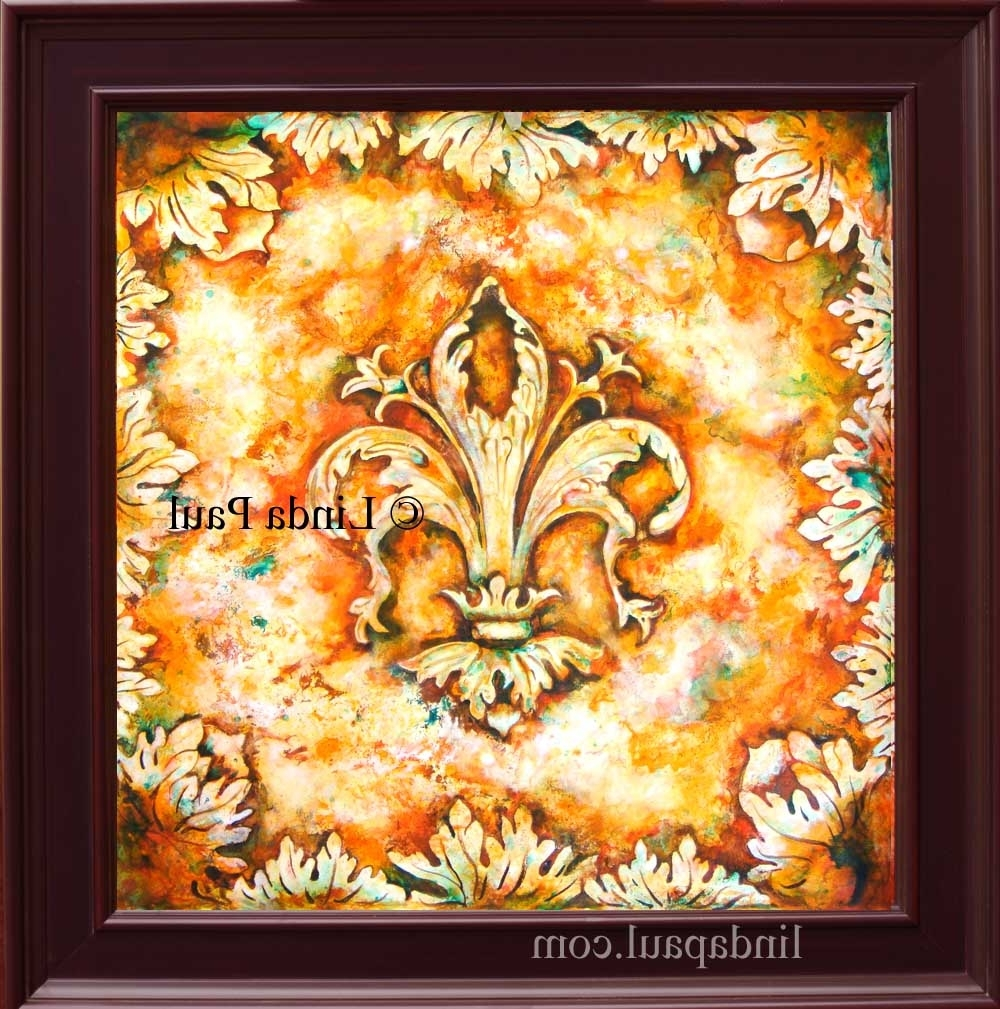 Wall Art Paintings Pertaining To Well Known Fleur De Lis Paintings – Fleur De Lys Wall Art Decor (View 8 of 15)