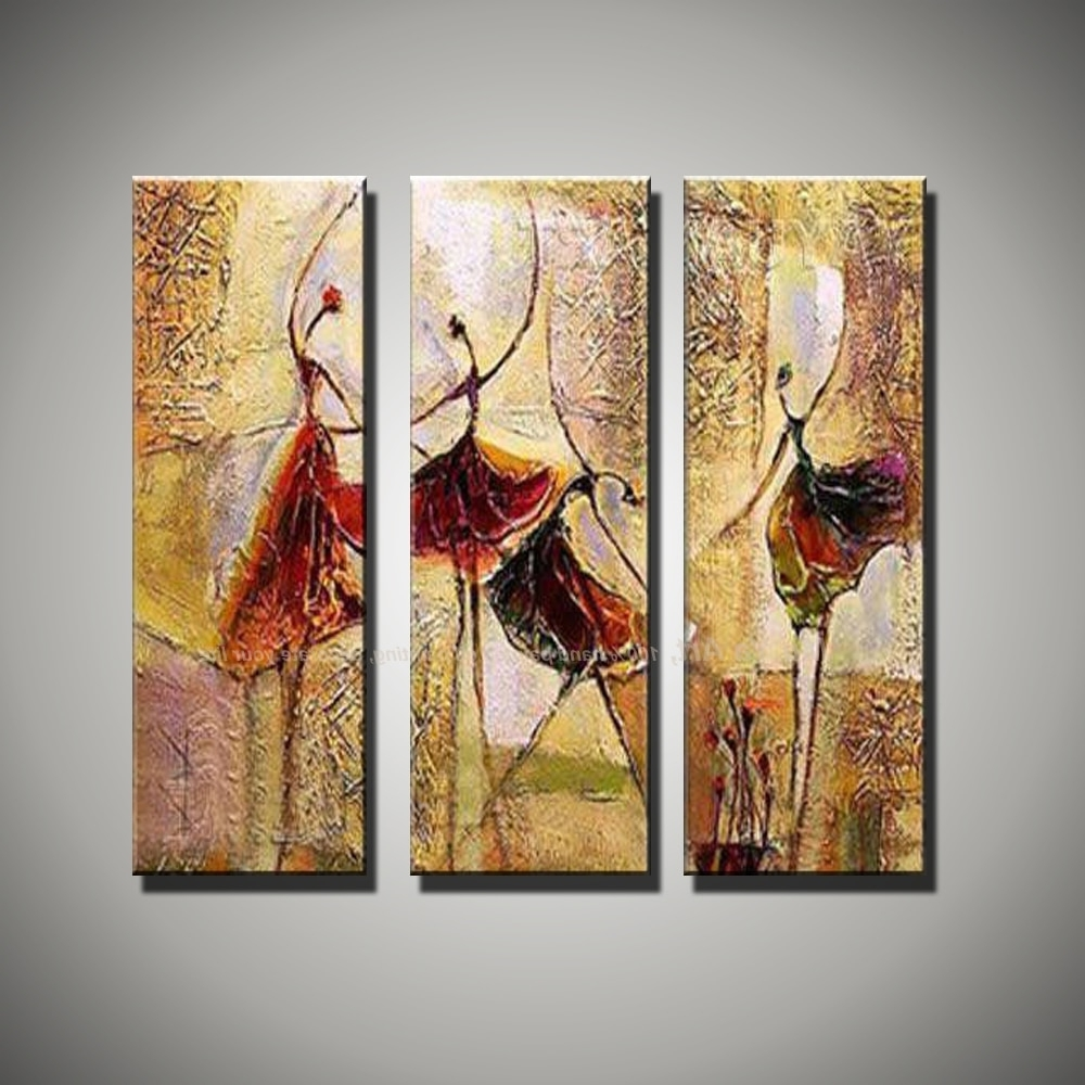 Wall Art Paintings With Favorite 3 Piece Wall Art Art Paintings Ballerina Ballet Dancers Modern (View 3 of 15)