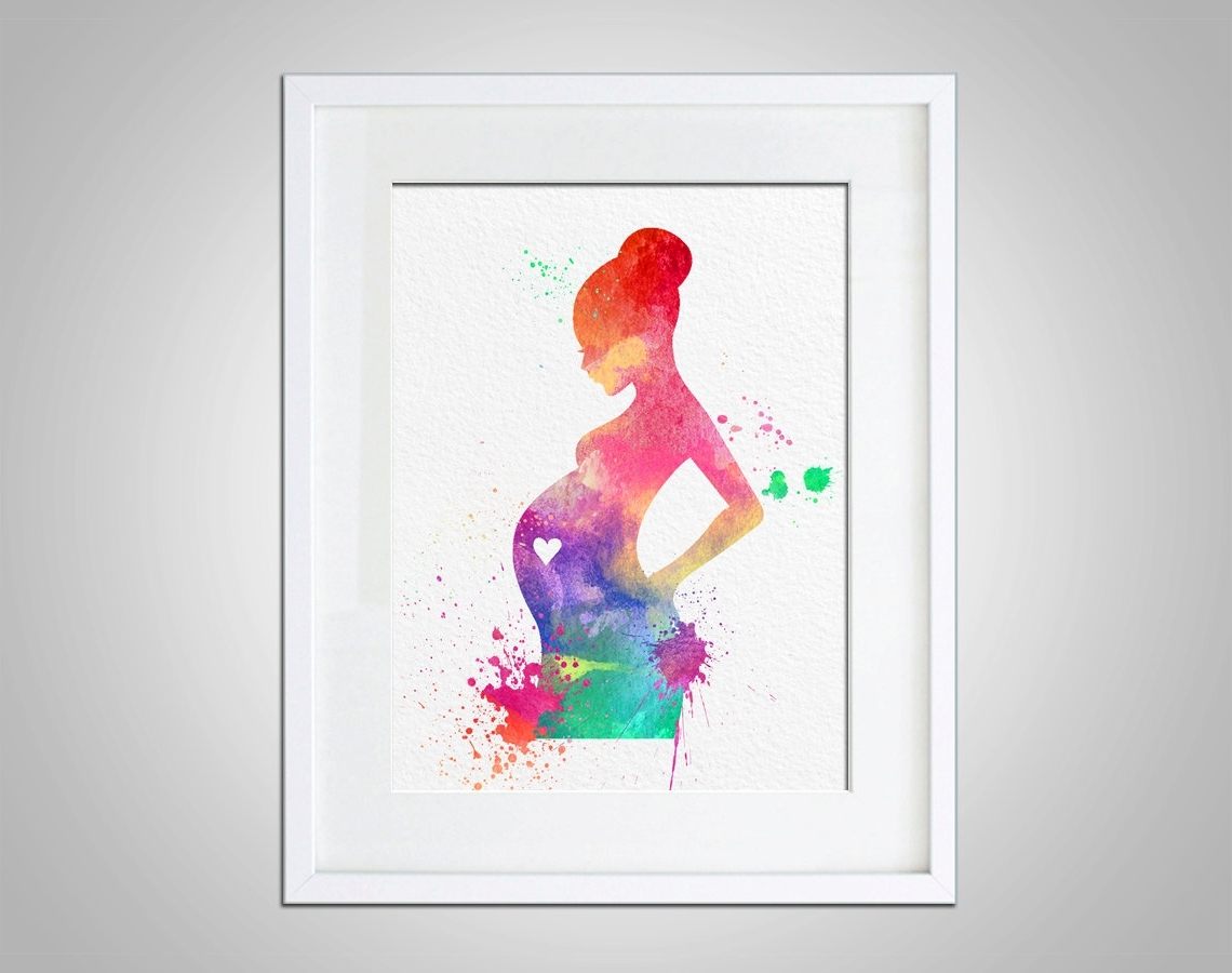 Wall Art Prints In Well Known Watercolor Art Expectant Mother Baby Shower Gift Modern 8X10 Wall (View 10 of 15)