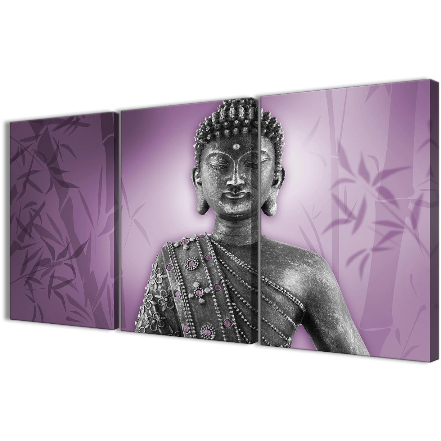Wall Art Prints Inside Most Recently Released Purple And Grey Silver Canvas Art Prints Of Buddha – Multi Set Of (View 12 of 15)