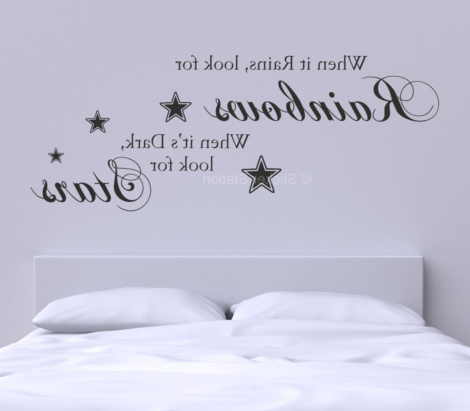 Wall Art Quotes regarding Most Current When It Rains Look For Rainbows Quote Wall Art Sticker - Sticker Station