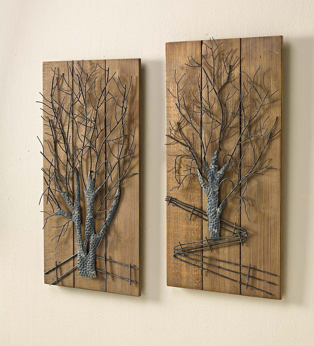 Wall Art Sets For Current Metal Tree On Wooden Wall Art, Set Of  (View 8 of 15)