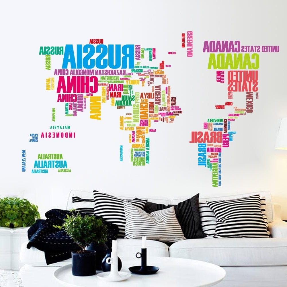 Wall Art Stickers World Map In Favorite Large Colorful World Map Removable Vinyl Wall Decal Art Mural Home (View 9 of 15)