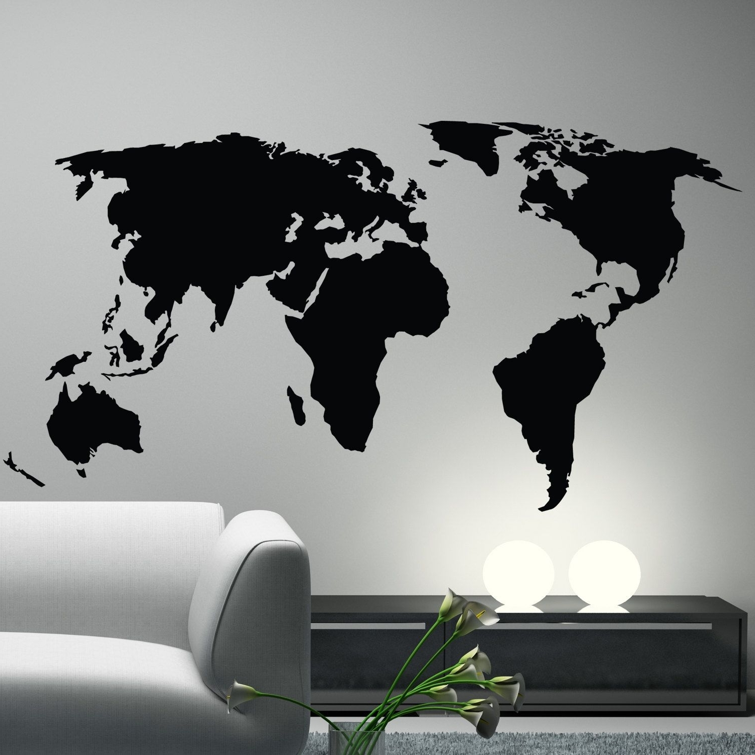 Wall Art Stickers World Map Intended For Trendy Office Decor (View 4 of 15)
