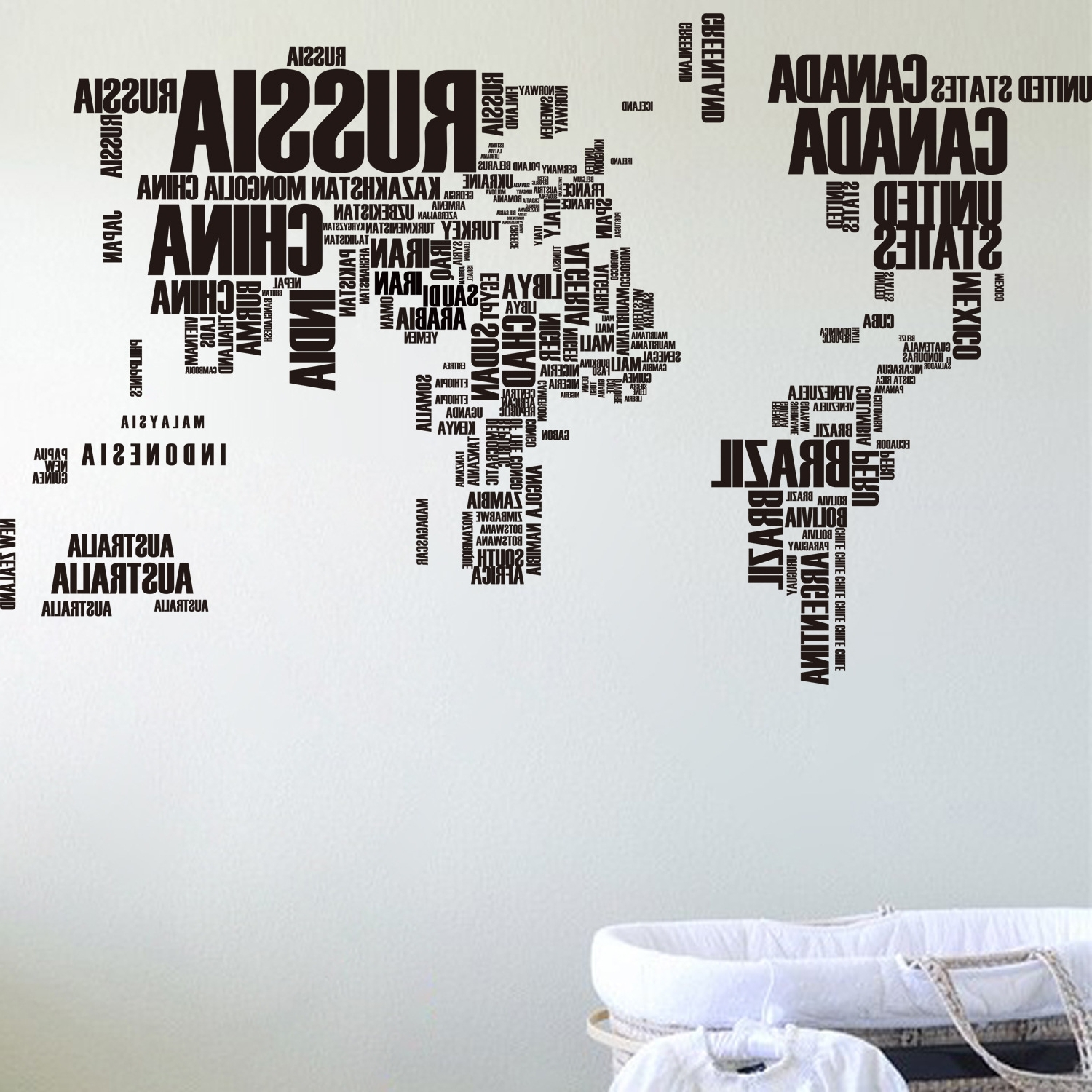 Wall Art Stickers World Map Intended For Trendy Wholesale Free Shipping World Map Wall Stickers Background English (View 5 of 15)