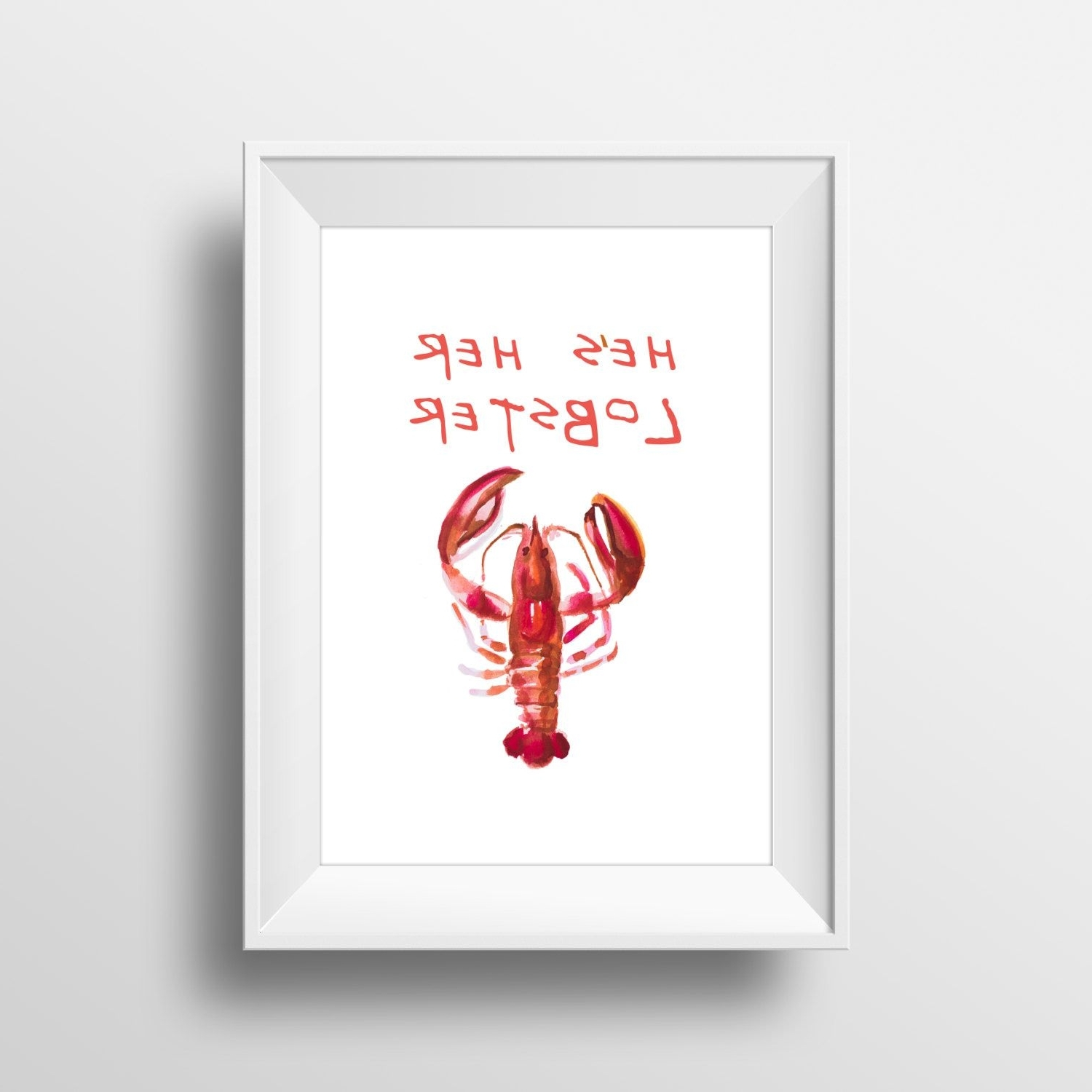 Wall Art Watercolor Print Friends'he's Her Lobster',ross And Rachel Throughout Famous Ross Wall Art (View 14 of 15)