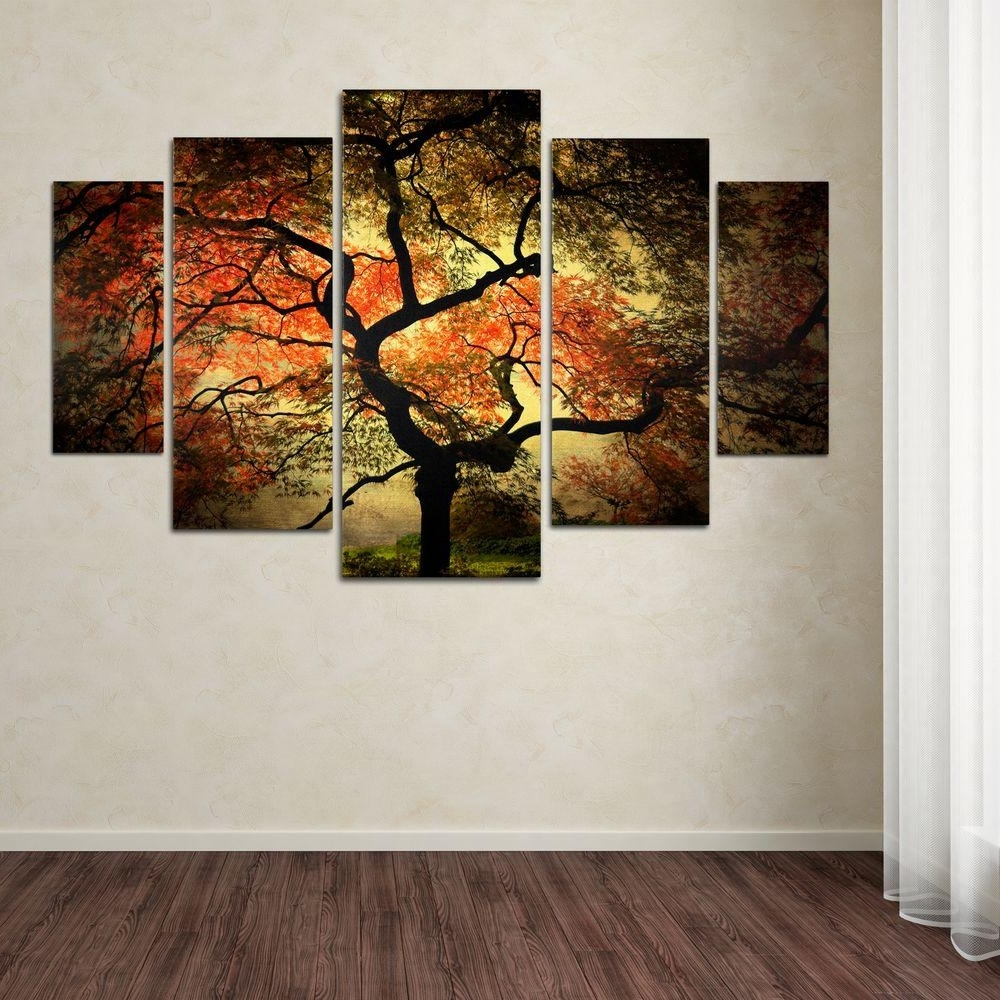 Wall Canvas Art With Most Popular Trademark Fine Art Japanesephilippe Sainte Laudy 5 Panel Wall (View 14 of 15)