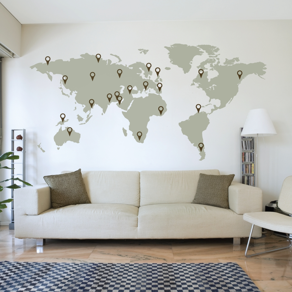 Wall Decals With Trendy Vinyl Wall Art World Map (View 6 of 15)