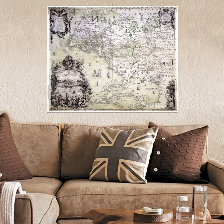 Wall Decor Old Map Painting On Canvas Print Vintage Map Artwork Home Regarding Famous Vintage Map Wall Art (View 6 of 15)