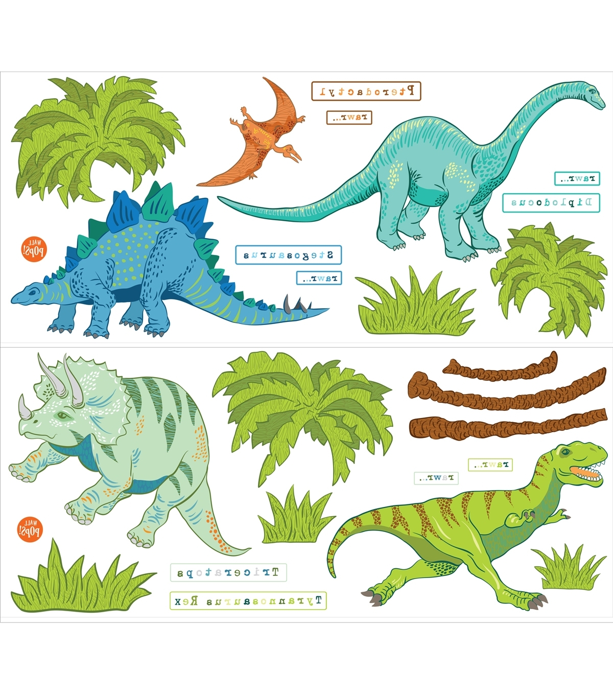 Wall Pops Dinosaur Expedition Wall Art Decal Kit, 42 Piece Set (View 12 of 15)