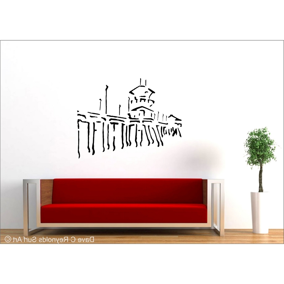 Wall Sticker Art Intended For Most Current Huntington Beach Pier Vinyl Wall Decal Art (View 11 of 15)