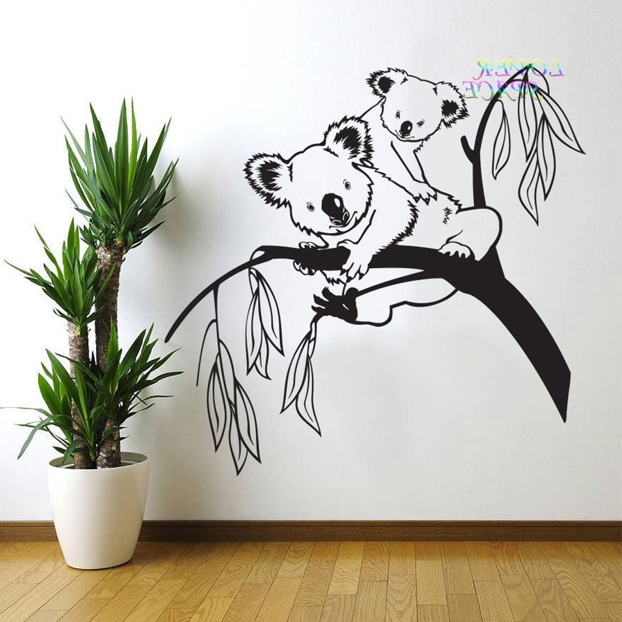 Wall Sticker Art Intended For Well Known Removable Tree Branches Koala Bear Baby Nursery Room Wall Decal Art (View 12 of 15)