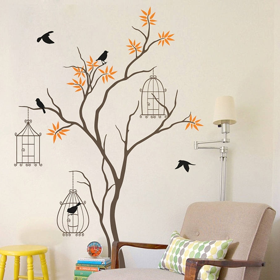 Wall Tree Art Intended For Most Popular Tree With Birds And Birdcage Wall Decalwall Art (View 11 of 15)