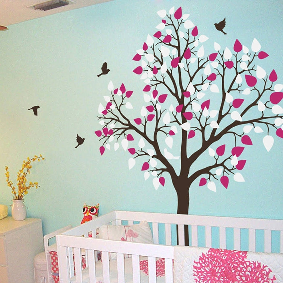 Wall Tree Art Intended For Most Recent Single Tree With Birds Flying Wall Stickerwall Art (View 12 of 15)
