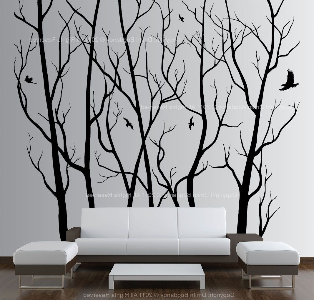Wall Tree Art With Preferred Wall Art Decor Vinyl Tree Forest Decal Sticker Choose Size Design Of (View 15 of 15)