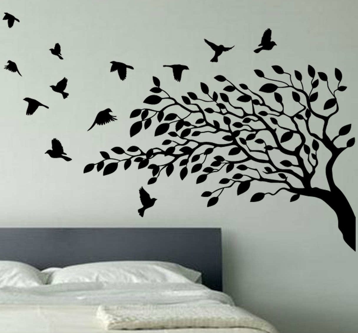 Wallpaper Wall Decals Stickers Art Vinyl Removable Birdcage Bird Intended For Best And Newest Tree Wall Art (View 7 of 15)