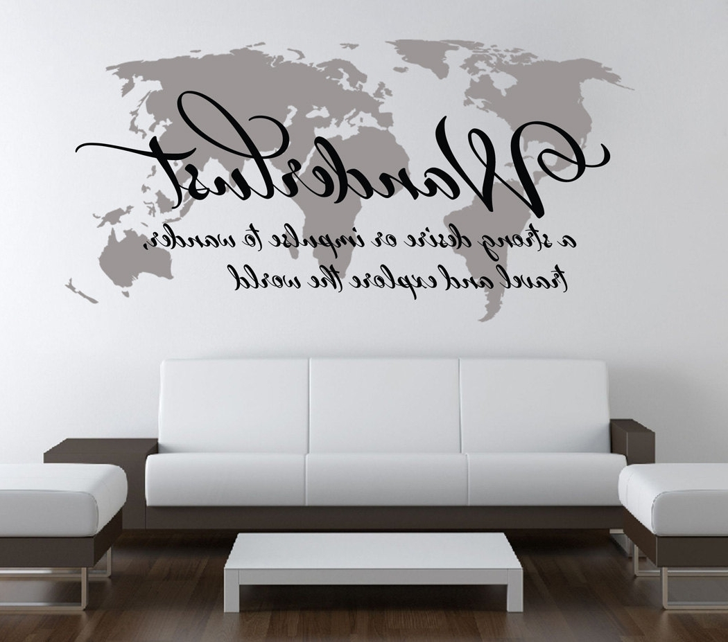 Wanderlust Travel Quote World Map Wall Art Decal · Moonwallstickers Throughout Popular Quote Wall Art (View 14 of 15)