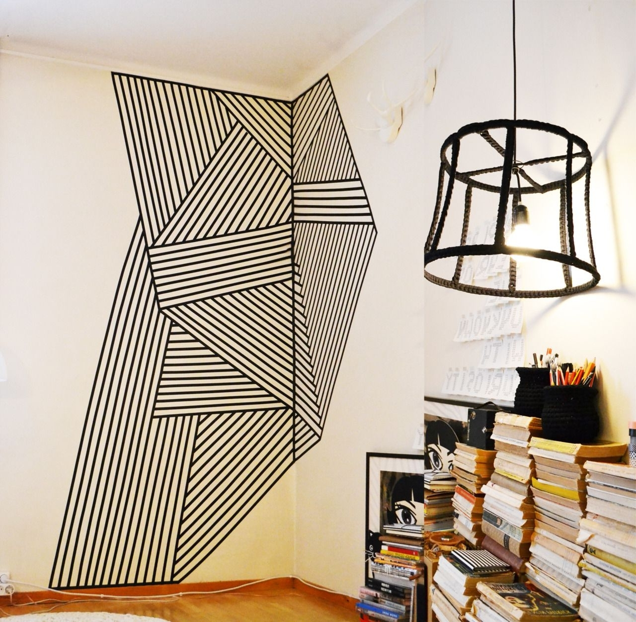 Washi Tape Wall Art With Regard To Fashionable Wall Decoration Made With Black Plastic Tape (View 2 of 15)