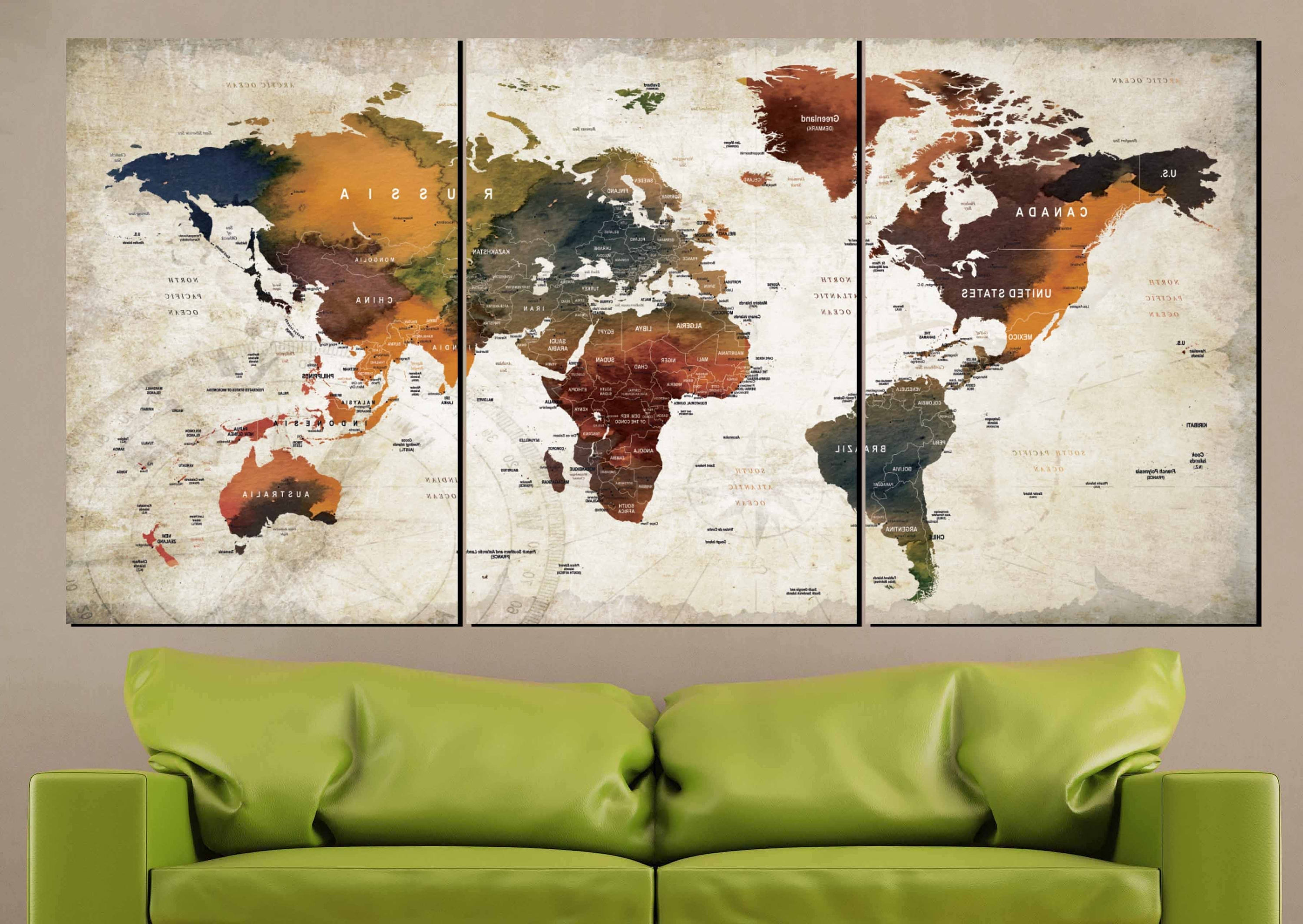 Watercolor World Map Art Canvas Panels,world Map Wall Art,world Map Inside Favorite Wall Art World Map (Gallery 6 of 15)