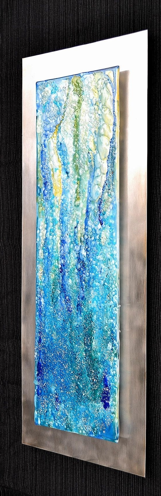 Waterfall – Modern Fused Glass Wall Hanging Art On Stainless Steel Intended For Well Known Glass Wall Art (View 15 of 15)