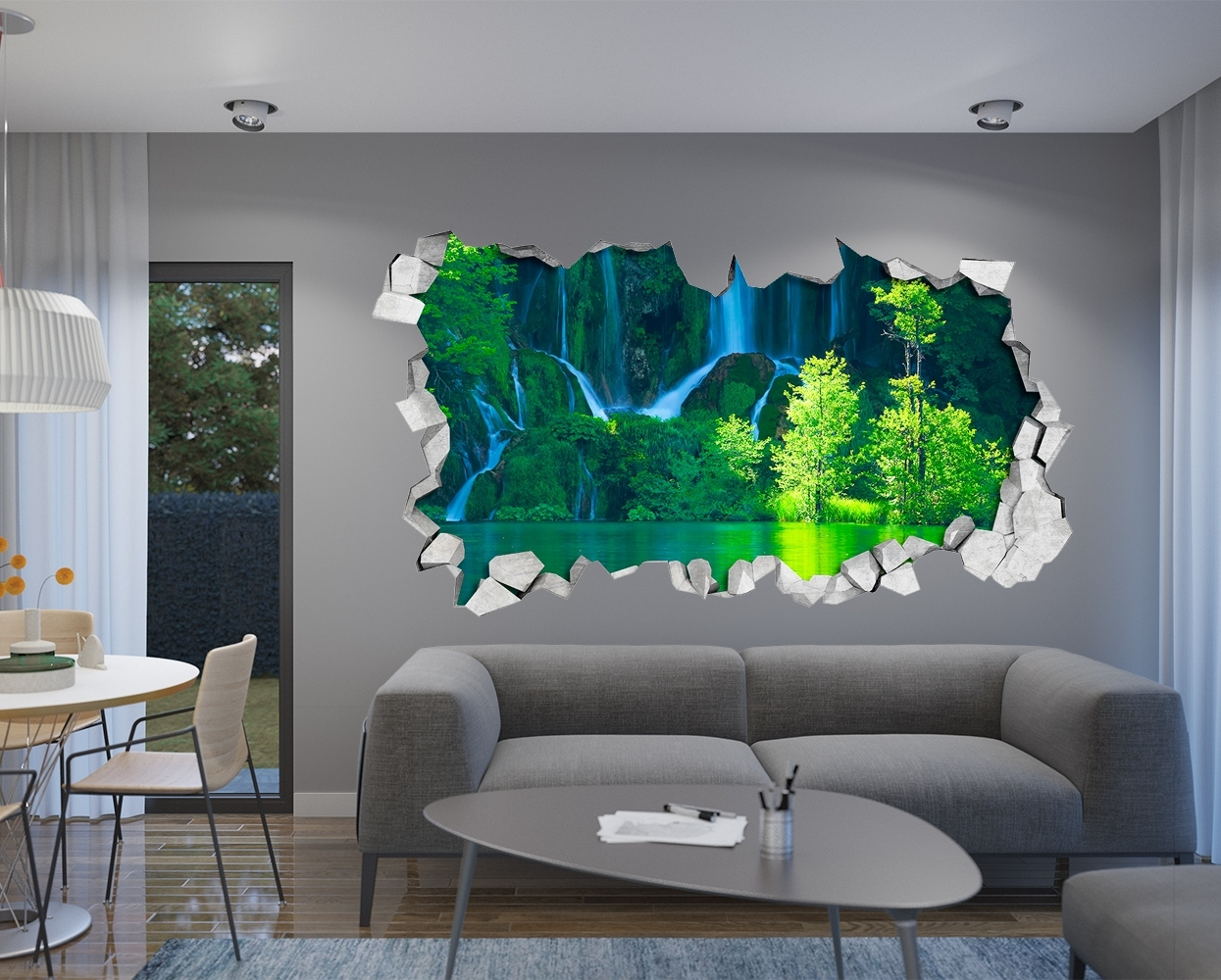 Waterfall – Wall Decal – 3D Wallpaper – 3D Wall Decals – 3D Printed Pertaining To Fashionable 3D Wall Art (View 6 of 15)