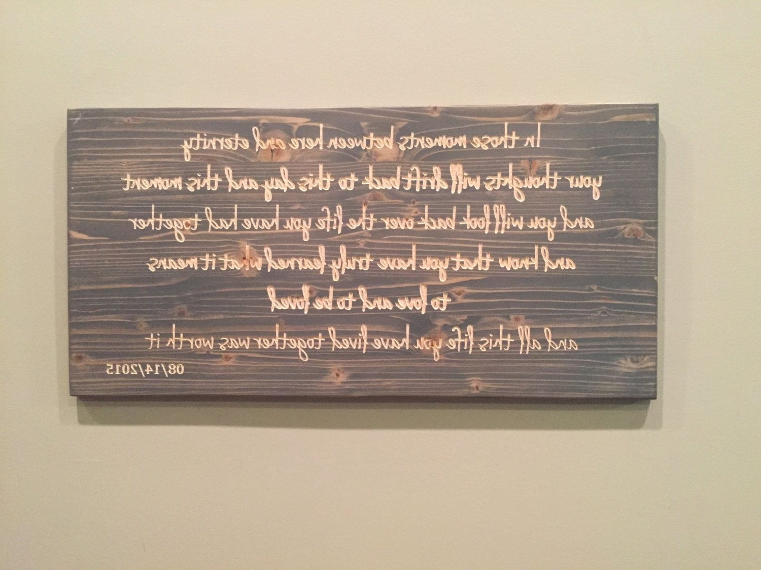 Wedding Vows, Carved Wood, Custom Quote Sign, Carved Wood Wall Art Throughout Latest Wood Wall Art Quotes (View 8 of 15)