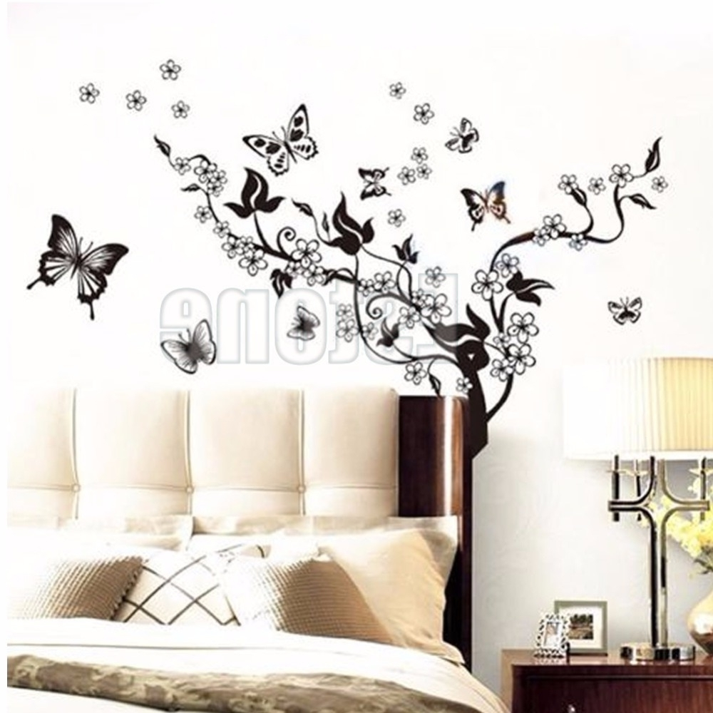 Well Known 1 Set Butterfly Flower Wall Art Decal Vinyl Stickers Home Diy Decor Throughout Flower Wall Art (View 7 of 15)