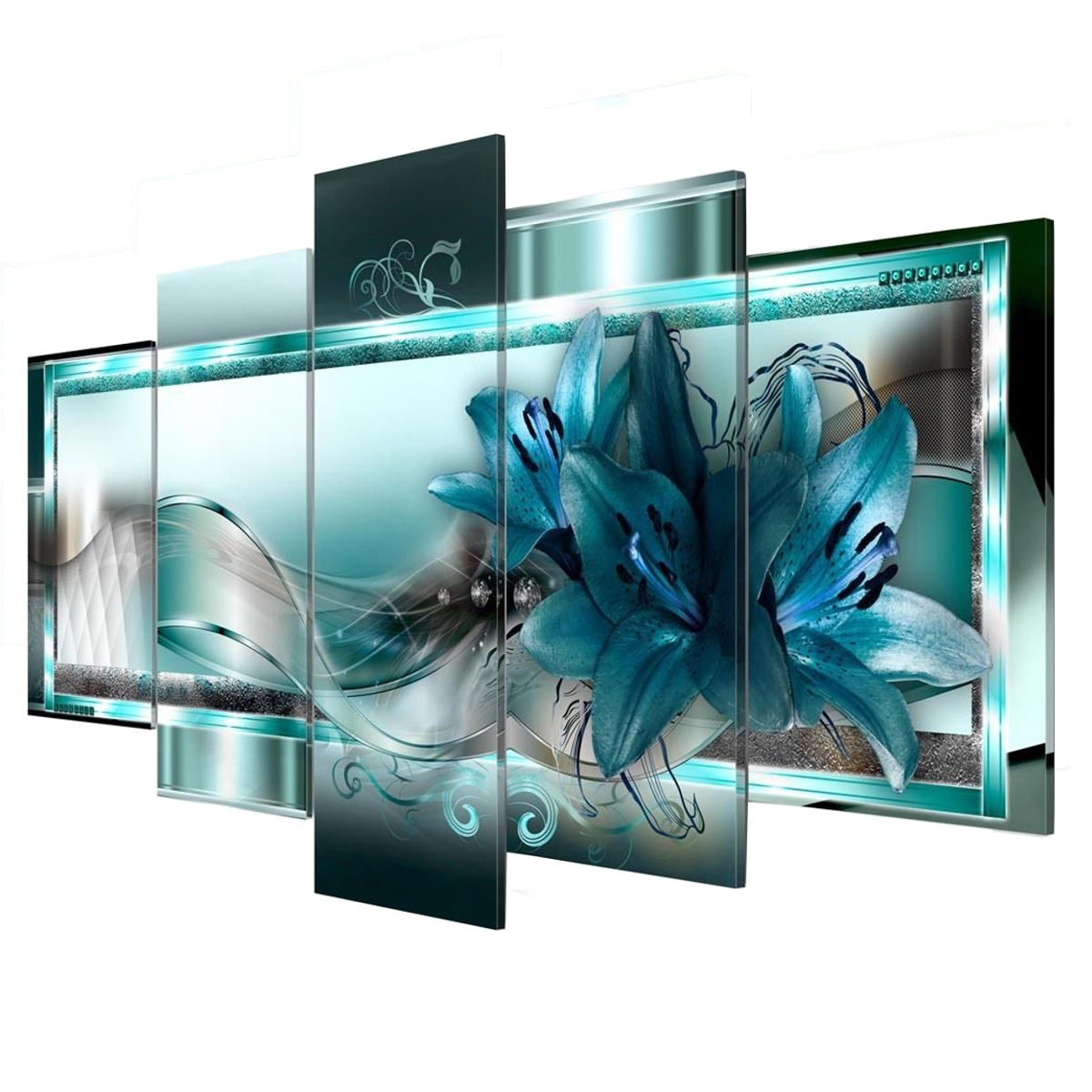 Well Known 5 Panel Canvas Print Modern Abstract Flower Picture Giclee Wall Art With 5 Piece Canvas Wall Art (View 15 of 15)