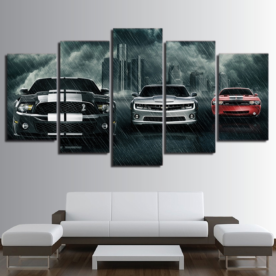 Well Known 5 Piece Wall Art With Regard To Hd Printed 5 Piece Canvas Art Muscle Cars – Mancave Host (View 12 of 15)