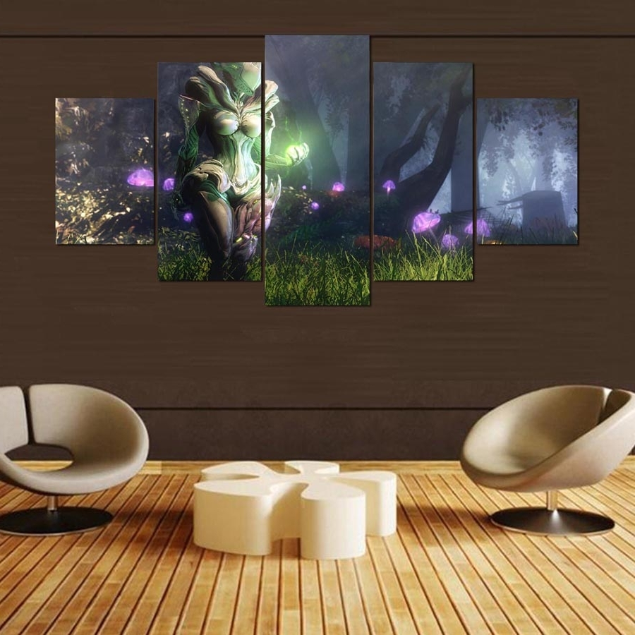 Well Known 5 Pieces Wall Art Painting Warframe Home Decor Canvas Hd Printed With Home Decor Wall Art (View 13 of 15)