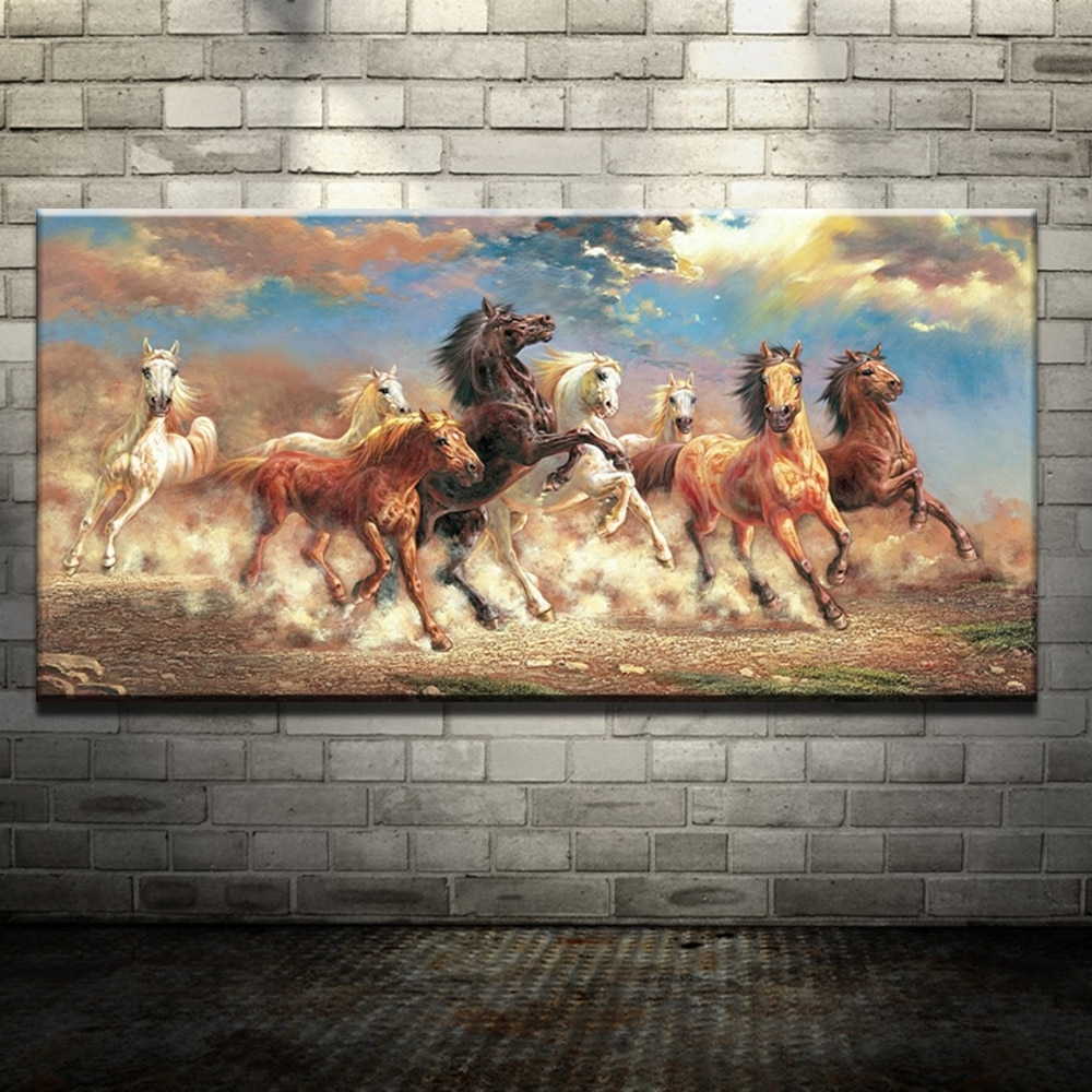Well Known 8 Running Horse Animal Modern Printed Oil Painting On Canvas Cotton Throughout Horses Wall Art (View 10 of 15)