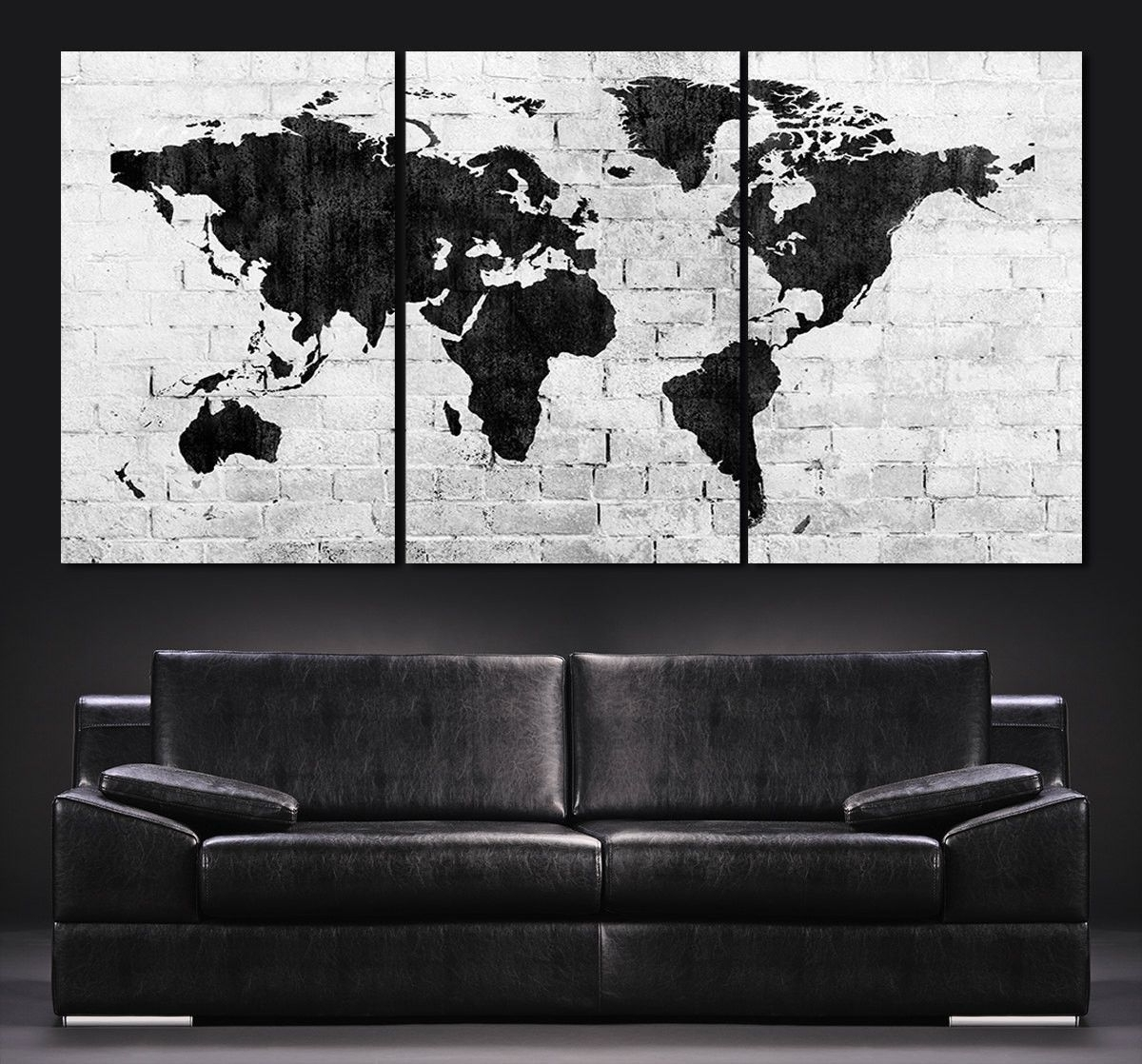 Well Known Black And White Large Canvas Wall Art Within Large Wall Art World Map Canvas Print – Contemporary 3 Panel (View 9 of 15)