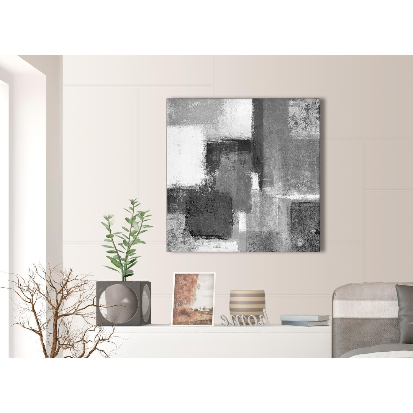 Well Known Black White Grey Abstract Office Canvas Wall Art Decorations 1S368L Inside Gray Canvas Wall Art (View 13 of 15)