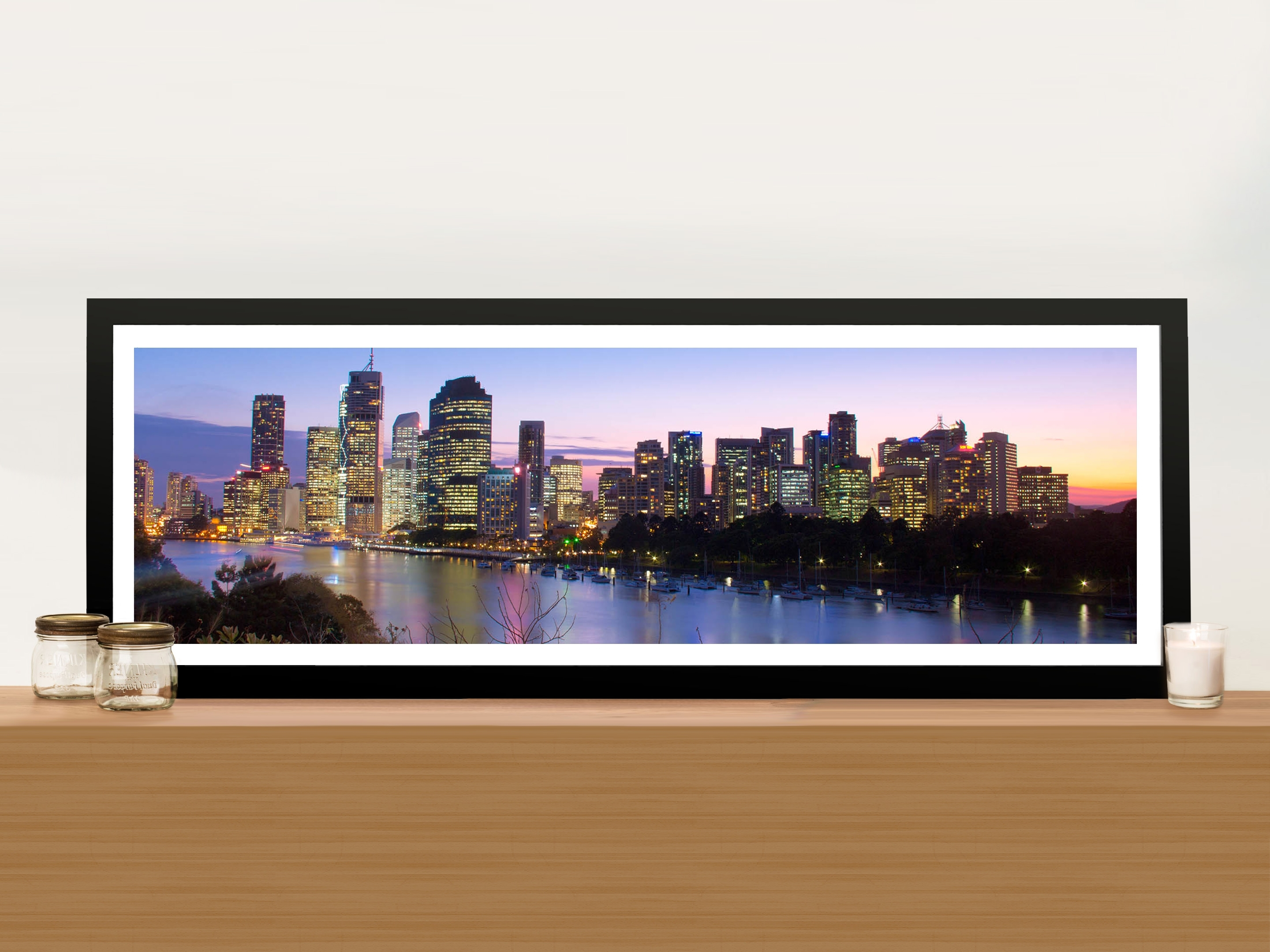 Well Known Brisbane Skyline In Panoramic View Picture Art Print On Canvas Throughout Panoramic Wall Art (View 7 of 15)