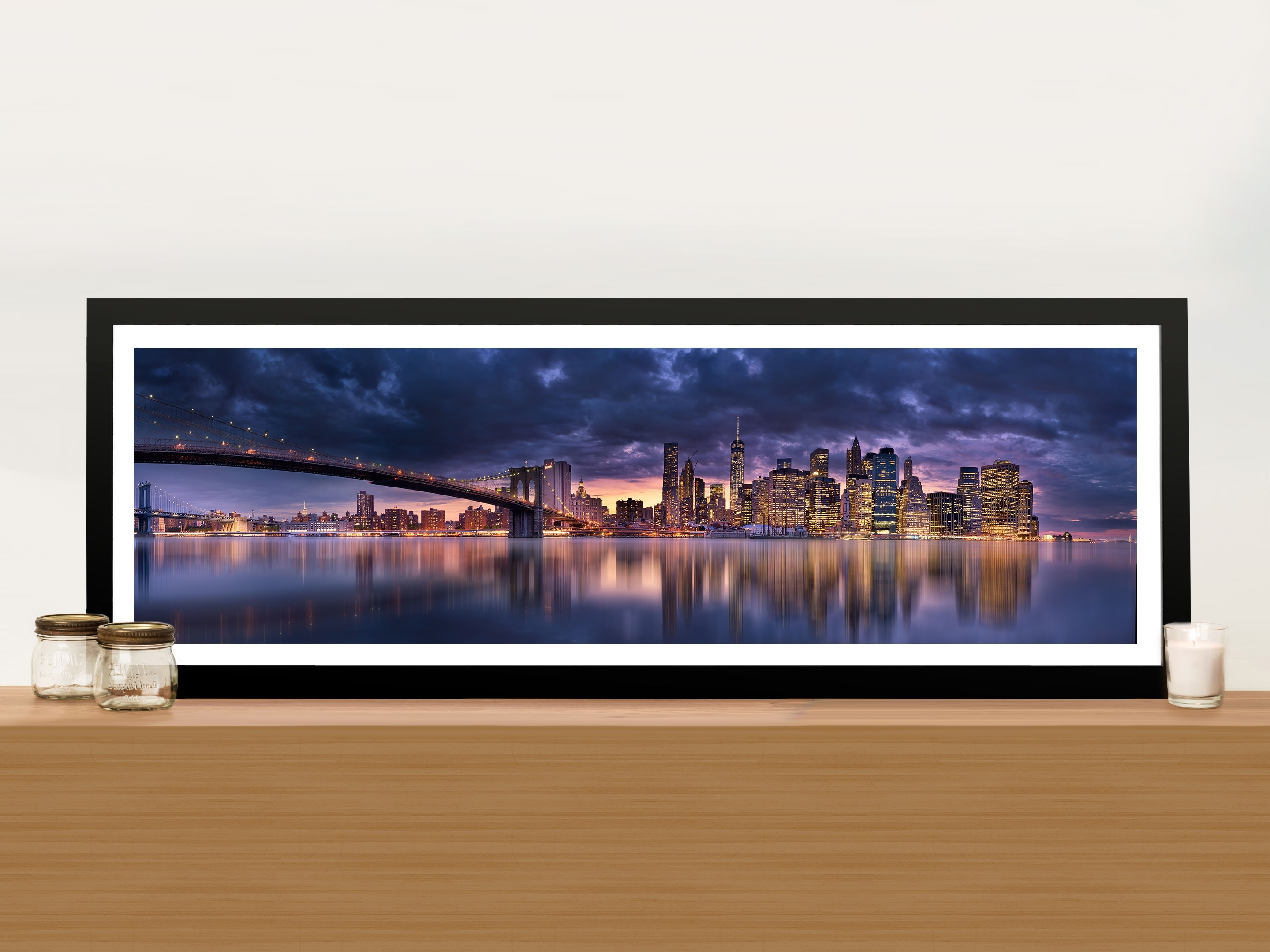 Well Known Brooklyn Bridge New York Panoramic Wall Art Print On Canvas Online Art Inside Panoramic Wall Art (View 8 of 15)