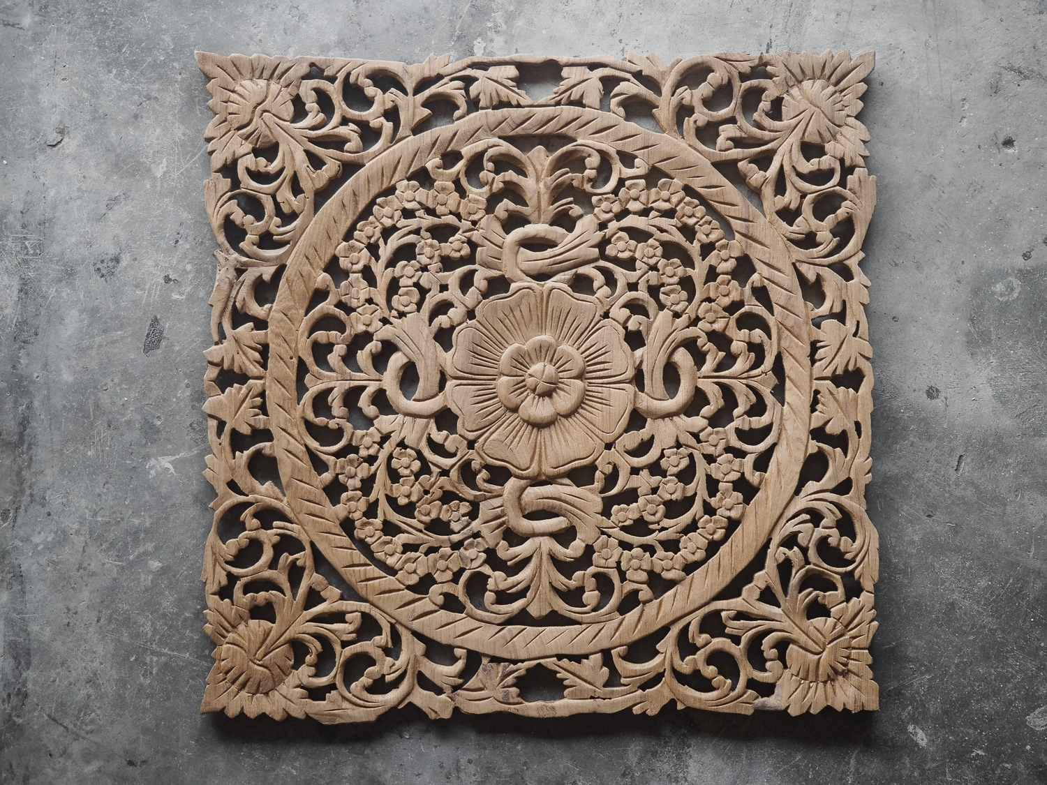 Well Known Buy Lotus Wood Carving Plaque Oriental Decor Online Throughout Carved Wood Wall Art (View 1 of 15)