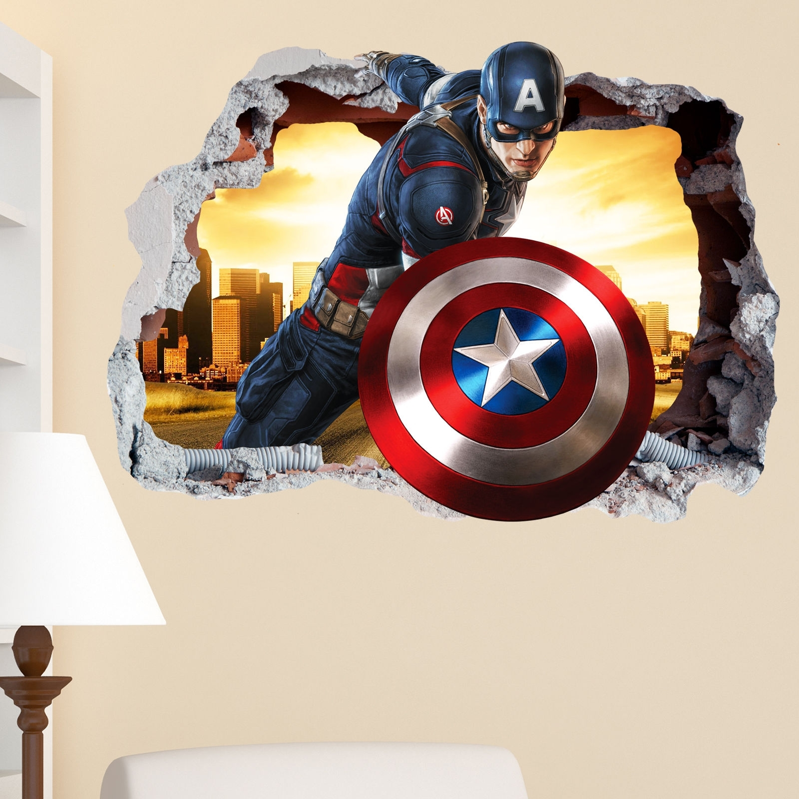Well Known Captain America Wall Art Within Captain America Smashed Wall Crack Kids Boy Girls Bedroom Vinyl (View 14 of 15)