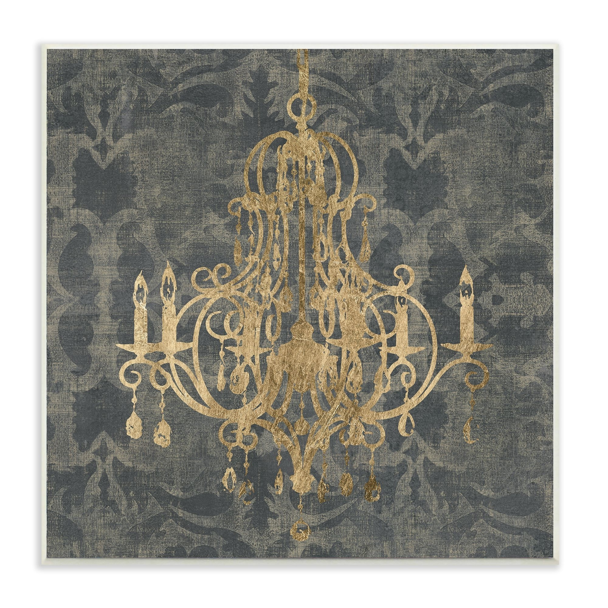 Well Known Chandelier Wall Art Intended For Stupell Wooden Damask Chandelier Themed Stretched Canvas Wall Art (View 14 of 15)