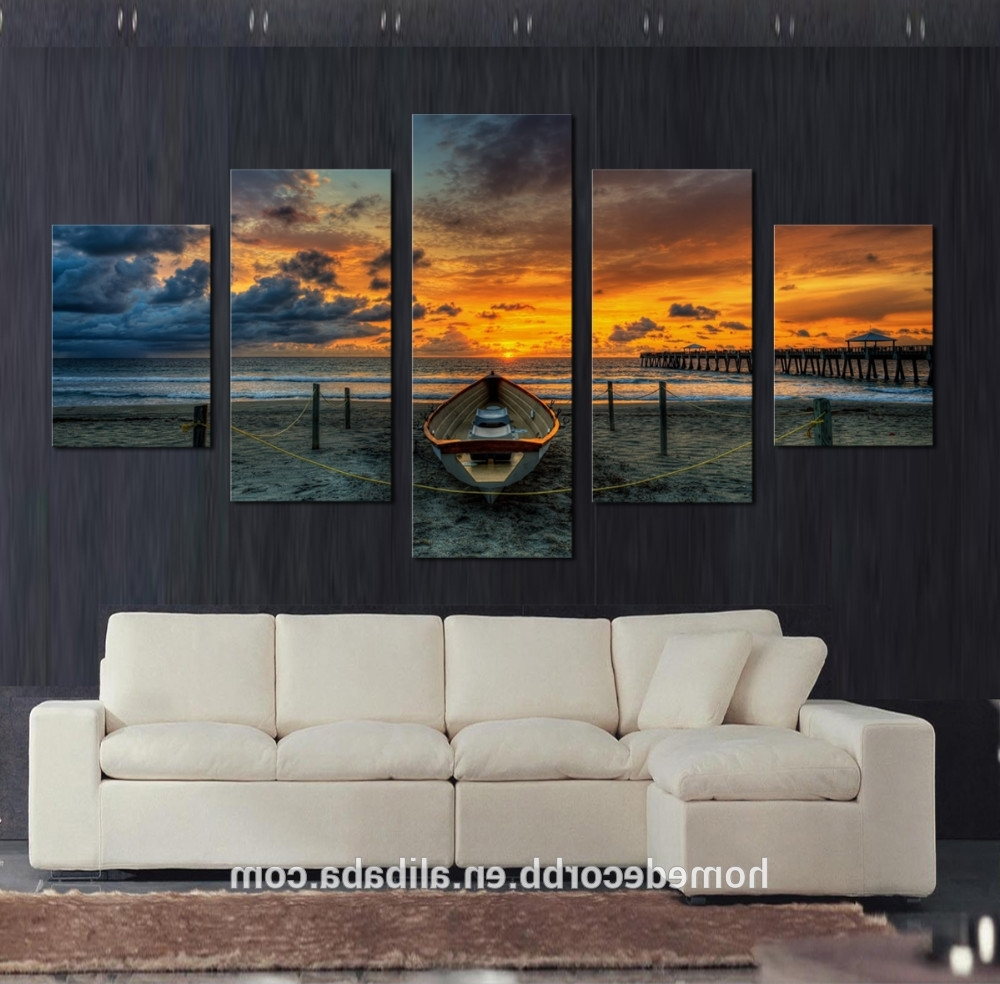 Well Known Cheap Wall Art Canvas Paintings,5 Set Seascape Sunset View Canvas For Cheap Wall Art (View 11 of 15)