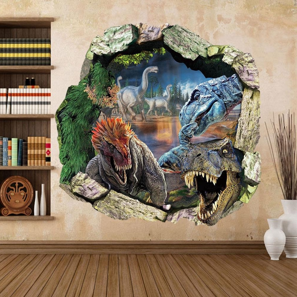 Well Known Dinosaur Wall Art Pertaining To New Big Jurassic Park Dinosaur Wall Sticker Vinyl Decal Mural Art (View 8 of 15)