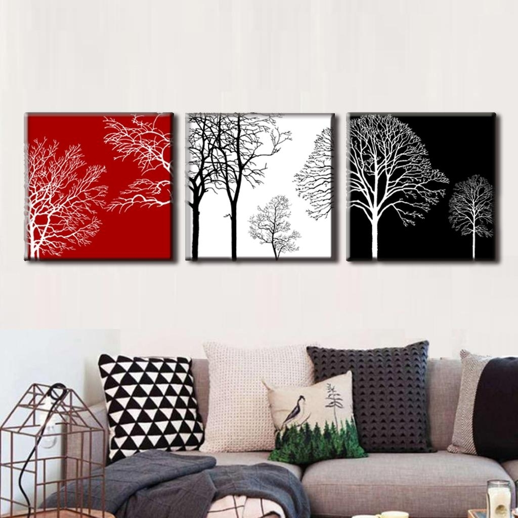 Well-known Discount Framed Painting 3 Pcs/set Modern Tress Wall Art Canvas intended for Discount Wall Art